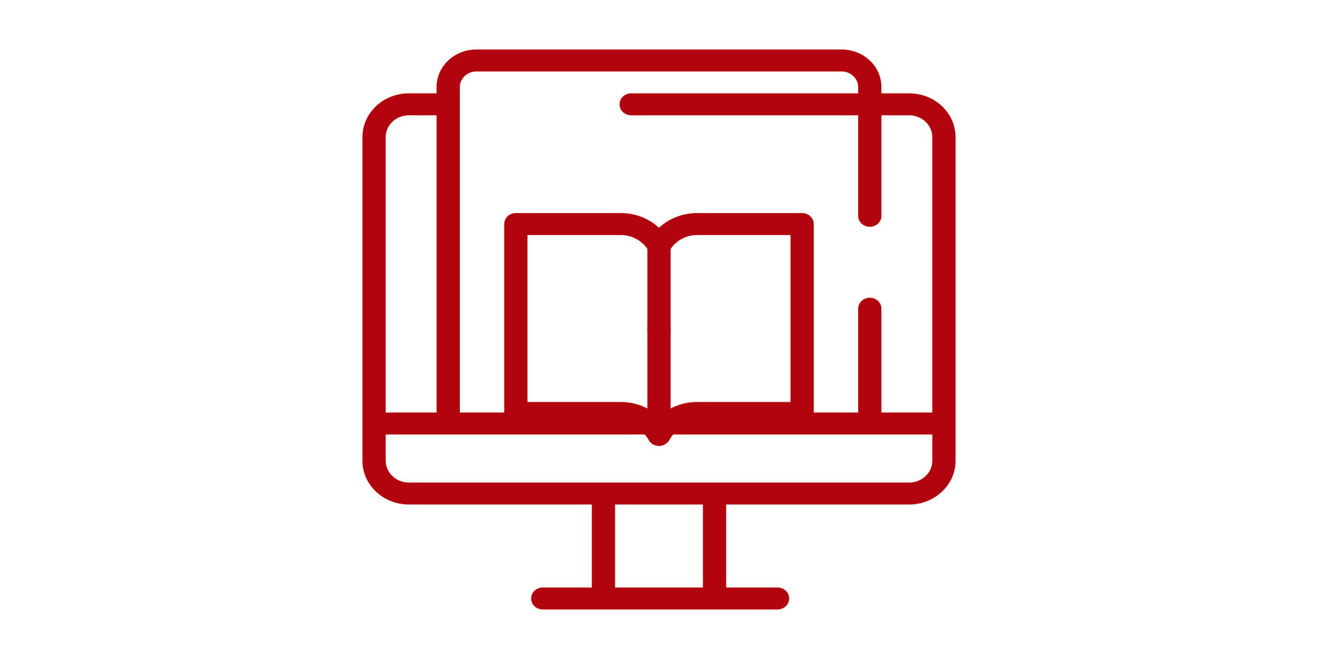Icon of book and computer together