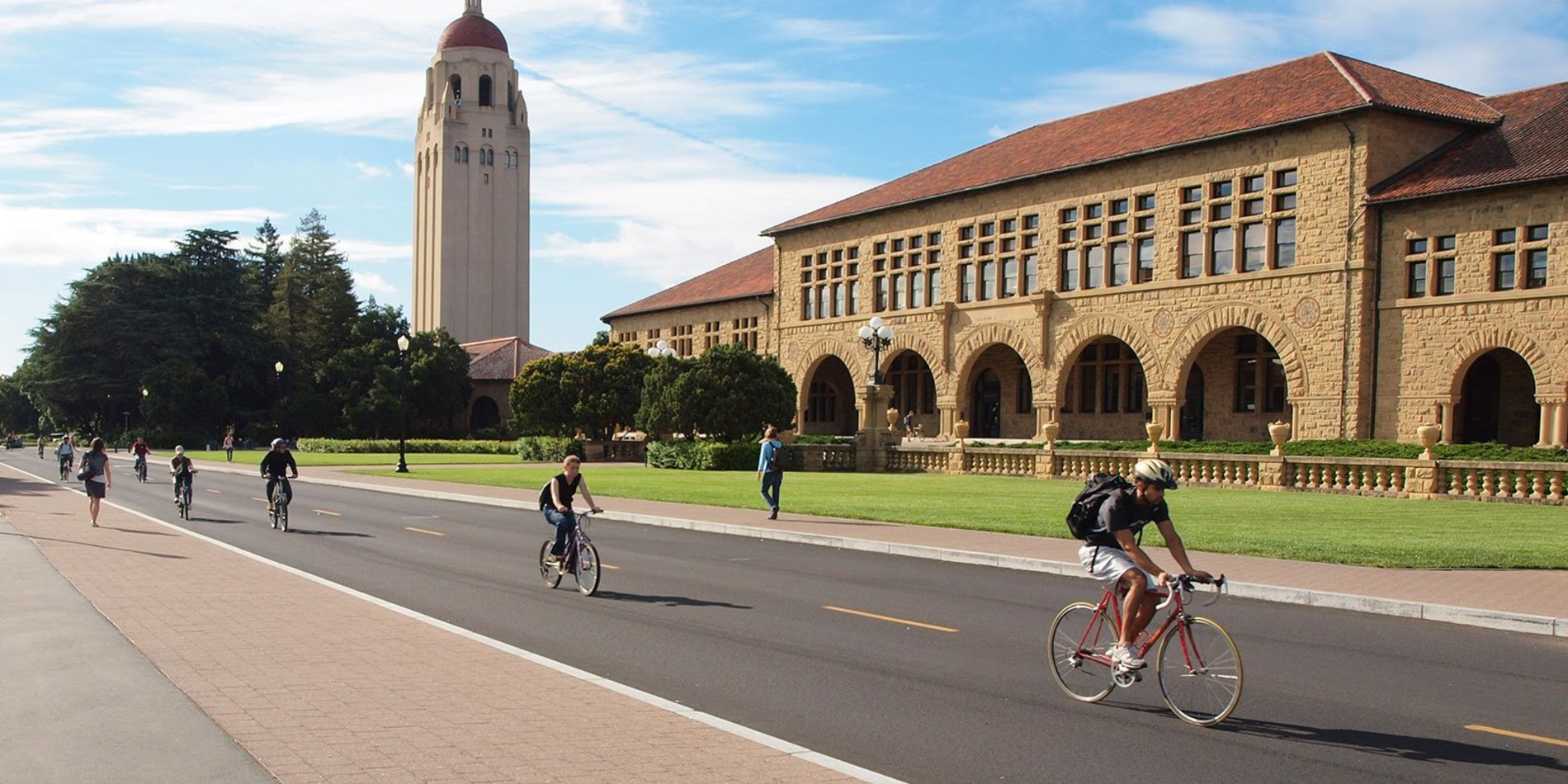 The Stanford Hoover Tower stands tall in the background while cyclists make their way down Jane Stanford Way